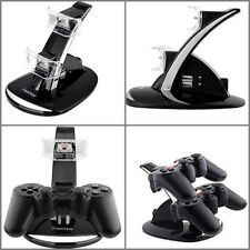 2 Port Dual PS3 Wireless Controller Charger Dock Station USB LED Hub Power Stand