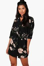 NEW Boohoo Womens Anna Floral Shirt Dress in Polyester