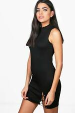 NEW Boohoo Womens Rose Lace Up Side Ribbed Bodycon Dress