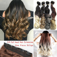 2-Tone-Ombre All Colours Clip in Hair Extensions as Human Thick One Piece Hair
