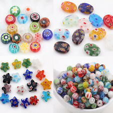 20Pcs Mixed Shape Millefiori Glass Craft Beads Multi-Color Loose Spacer Bead DIY