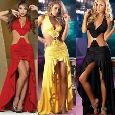 Fashion Women Sexy Long party Dress Hot Evening Dress Satin Silk Deep V Dress
