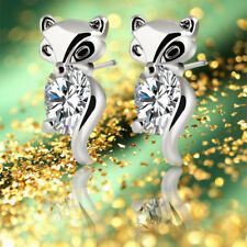Fox Stud Earrings Crystal Earring Animal Plated Silver Gold Alloy Classic
