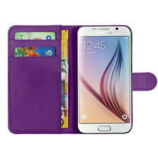 Samsung Galaxy Apple Purple Leather Wallet Phone Case Cover For iPhone 4,5,5c,6