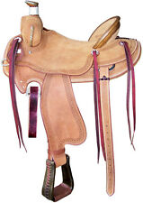 NEW WESTERN BARREL RACING SHOW SADDLE ROUGHOUT WITH SADDLE BAG