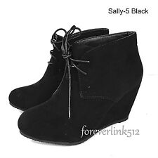 Womens High Heels Booties Ankle Boots Lace Up fashion Shoes Wedge Size Pumps