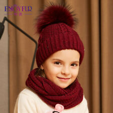 Hat Scarf And Set Girls Winter Knitted Cotton Cute Pom Autumn Spring Weather