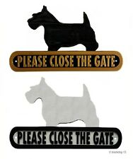 Scottish Terrier Please Close The Gate Silhouette Dog Plaque - House Garden
