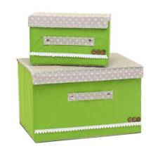 Folding With Cover Storage Boxes Cloth Fabric Nonwoven 2pcs Organizer  W