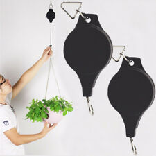 ES_ 2Pcs Retractable Pulley Basket Pull Down Hanger Hook Garden Plant Reach Popu