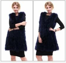 Trendy Real Farm Ostrich Fur Coat Ladies Long Gilet Shaggy Waistcoat V-collar