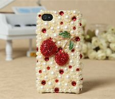 Bling Cute Pearls Cherry Diamonds Rhinestones Hard Case For Various Mobile Phone