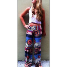 Lady Hippie BOHO Tie Dye Gypsy Bell Bottom Loose Yoga Wide Leg Flared Long Pants