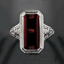 925 Silver Ring Men Women Huge 8.2ct Ruby  Engagement Wedding Party Size 6-10