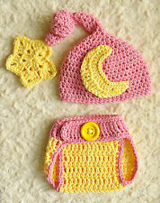 Pink Moon & Star crochet baby Photo Prop Hat & Diaper Cover Set 100% Cotton