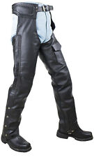 MEN'S MOTORCYCLE BLACK BRAIDED LEATHER RIDING CHAP PANT MESH LINING FLAT POCKET