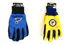 ST LOUIS BLUES NHL SPORTS UTILITY GRIP GLOVES with TEAM LOGO YOU SELECT THE PAIR