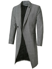 Men Notched Lapel Padded shoulder Single Breasted Button Down Overcoat