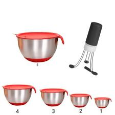 Various Stainless Steel Salad Mixing Bowl Lid Auto Stirrer Stir Whisk Mixer