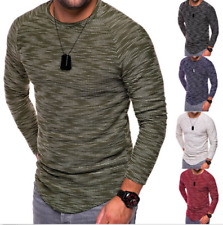 Fashion Men's Slim Fit Long Sleeve O Neck Casual Tops Blouse Muscle Tee T-shirt