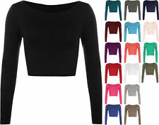 New Womens Crop Basic Long Sleeve T Shirt Ladies Short Plain Round Neck Top 8-14