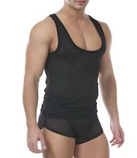 NEW SQUEEZE.DOG Plunging Scoop Stretch Mesh Gym Muscle Tank Top Black