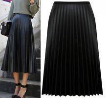 New Women Ladies Pleated Faux Leather High waisted A line Full Length Midi Skirt