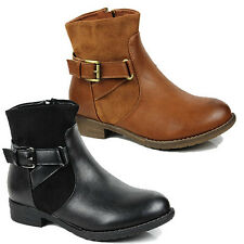 WOMENS LADIES LOW BLOCK HEEL BUCKLE FASHION CHELSEA ANKLE BOOTS SHOES SIZE 3-8