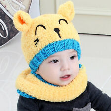 Baby Cute Bear Warm Velvet Tab Crochet Knit Hat Beanie Cap+Scarf Suit Winter NEW