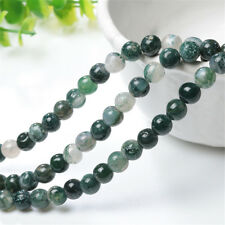 Natural Aquatic Agate charms Round Gemstone Loose Spacer Beads 4/6/8/10MM