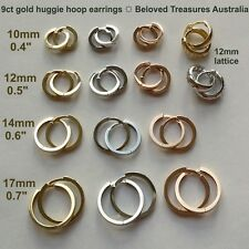 9ct 9kt yellow white rose Gold earrings huggie hoop hinged Quality made in Italy