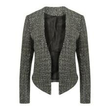 Ladies' Fully-Lined Monochrome Cropped Tailored Blazer Jacket