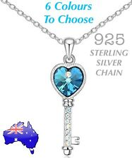 Crystal Love Heart Key 21st Birthday 925 Sterling Silver Chain Necklace Gift New