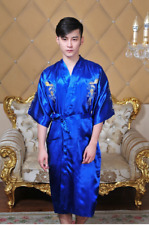 blue  Chinese Dragon Kimono Sleepwear Gown Bath Robe Nightwear 。