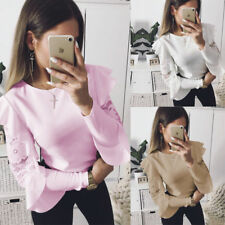 Fashion Women Lace Long Sleeve T-shirt Round Neck Blouse Casual Solid Loose Tops
