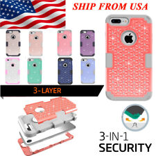 For Iphone 7/7 Plus Luxury 3-IN-1 Bling Glitter Shock Proof  Hybrid Cover Case