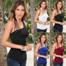 6-20 Size UK Womens Eyelet Bodycon Casual Off Shoulder Halter Neck Blouse Tops