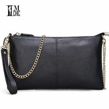 Soft Genuine Leather Women Clutch Bags Chain Shoulder Bag Real Cowhide Purse Org