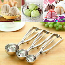 Ice Cream Spoon Stainless Steel Spring Handle Masher Cookie Scoop AURB
