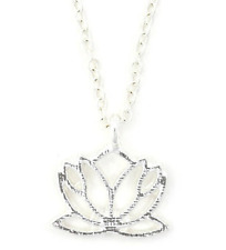 Necklace Lotus Flower Silver Pendant Tone Jewelry Charm Women Gold Chain Gift