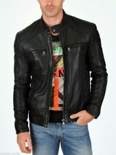 Jacket Leather Motorcycle Mens Black Real Lambskin New Biker Coat Vintage MJ797