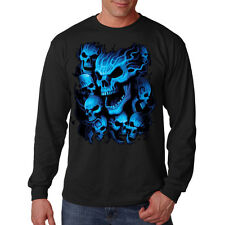 Blue Skulls Hanging Out Gothic Design Biker Long Sleeve T-Shirt Tee