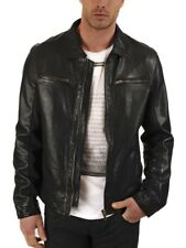 Jacket Leather Motorcycle Mens Black Real Lambskin New Biker Coat Vintage MJ533