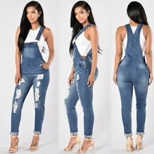 Womens Casual Lady Ripped Denim Jeans Overall Jumpsuit Suspender Playsuit Hot
