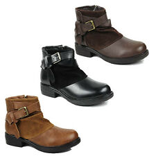 WOMENS LADIES LOW BLOCK SLOUCH BUCKLE FASHION CHELSEA ANKLE BOOTS SHOES SIZE 3-8