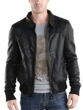 Jacket Leather Motorcycle Mens Black Real Lambskin New Biker Coat Vintage MJ514