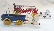 Vintage Antique Cast Iron Horse-Drawn Fire Wagon & Conestoga Wagon 1950s-60s