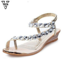 NEW 2018 Sandals Women Rhinestone Summer Shoes wedges Slip On Wedding Woman
