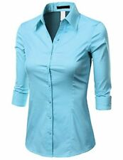 Doublju Solid 3/4 Sleeve Cotton Button Down Collared Shirt ( Plus SZ available)