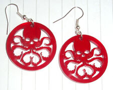 80s Super Hero Captain America Hydra Logo Charm Earrings Kitsch Kawaii Red